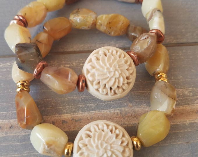 lotus bead rough cut yellow opal with choice of gold or copper tone spacer beads
