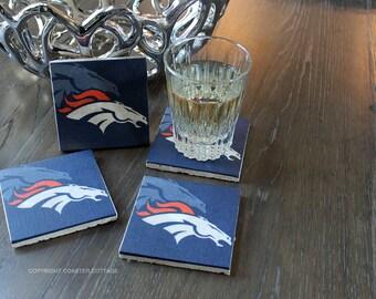 Denver Broncos Coasters - Denver Broncos Gift - Denver Coasters - Broncos Man Cave - Denver Broncos Decor - Broncos Home Decor - Denver Gift