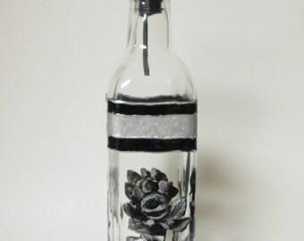 Hand Painted Olive oil or Soap dispenser Black and Silver Rose Design