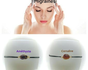"Bracelet to mitigate ""Migraines / headaches"" Amethyst or carnelian"