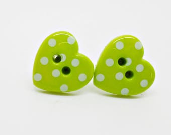 Lime Green Polka Dot Studs, Heart Polka Dot Earrings, Vintage Studs, Retro Studs, Button Earrings, Green Posts, Gift For Her, Rockabilly