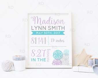 Floral Birth Announcement PRINTABLE Wall Art / Date of Birth Printable / Baby Name Print / About Baby Print / Floral Burst Dahlias / Custom