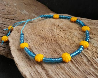 Bohemian Turquoise Blue & Yellow Beaded Ankle Bracelet, Boho Style Waxed Cotton Cord Adjustable Anklet, Flower Anklet, Seed Bead Anklet