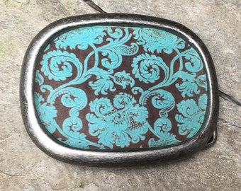 belt buckle bohemian belt buckle women's belt buckle mens belt buckle resin belt buckle interchangeable belt buckle brown & turquoise blue