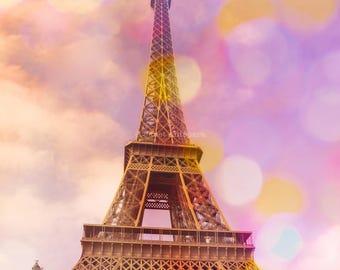 Eiffel Tower Sunset Fine Art Print, Parisian Decor, Paris Photography, Bokeh, Pastels, French, Architecture, Europe, Landmark, Travel