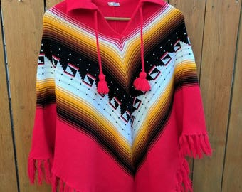Vintage Hand Knitted Poncho
