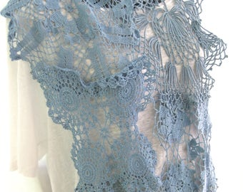 Light blue and teal vintage lace up cycled hand crocheted scarf, hand dyed repurposed doilies, feminine bohemian one of a kind retro scarf