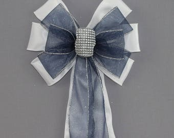 Navy Blue Sparkle Bling Wedding Pew Bow
