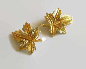 Maple Leaf Earrings, Vintage, Rhinestone & Gold Tone Leaves, Beauties!