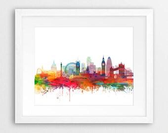 London Skyline Print, London Watercolor silhouette, London England UK Cityscape, Modern Wall Art, Home Decor, Travel, Digital Printable Art