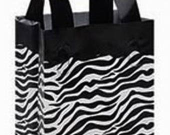 "Black and White Animal Striped Frosted Plastic Shopping Bags ~ 8""x 5"" x 10"""