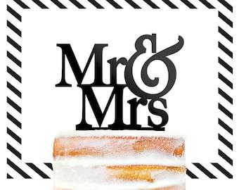 Mr And Mrs Cake Topper, Gold Cake Topper, Custom Cake Topper, Topper For Wedding, Modern Wedding Cake Topper, Cake Decor (T001)