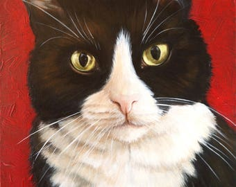 "Cat Portrait on Canvas, ""Checkers"""