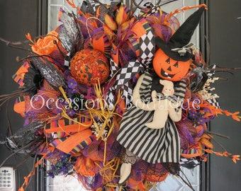 Halloween Wreath, Halloween Door Hanger, Fall Wreath, Front door wreath, Large Wreath, Deco Mesh Wreath, Wreath for Door, Ready to Ship
