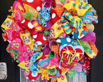 XL Deco Mesh Summer Wreath, Spring Wreath, Door Hanger, Front Door Wreath, Flip Flop Wreath
