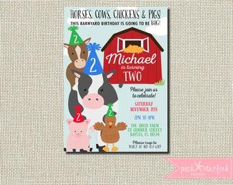 Farm Invitation, Farm Birthday Invitation, Petting Zoo Invitation, Old MacDonald Farm Birthday Invitation, Barnyard Party, Any Age, Digital