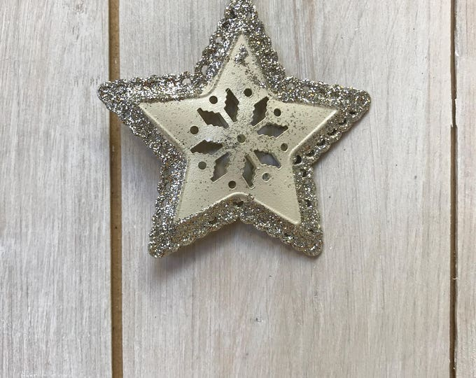 Box of 6 golden &  silver glittery Snowflake Metal Hangings Home or Christmas Tree Decoration