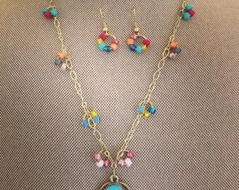 Multicolor Hamsa Hand Charm Necklace Set