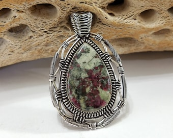 Russian Eudialyte, Wire Wrapped, Sterling Silver, Green, Purple, Pendant, .925 Sterling Silver, Focal, Beading, Jewelry, Supply