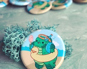 Creature goes to the Lagoon Pinback Button or Magnet - ( buttons pin pins cute flair )