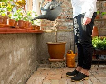 Handmade Swedish Clogs Mens Slippers Slip In Black Leather Shoes Clogs for Men Brown Wooden Clog Mules Mens Clogs Sandgrens Colt