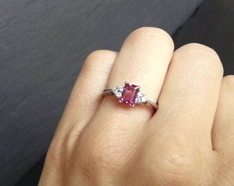 Pink Sapphire Diamond Cluster Engagement Ring