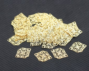 10 Pieces Hollow-carved Gold Plated Slice Pendants For Jewelry Making Craft Supplies Wholesale Charms YHA-293-7143