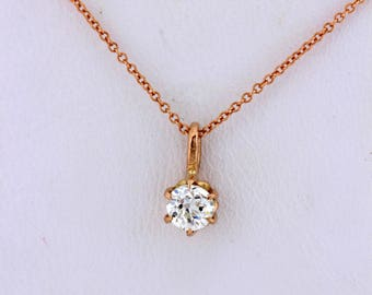 Cute 14K Rose Gold Diamond Pendant and Matching Chain