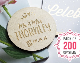 "200 PIECES - Engraved Wedding Coasters, Personalized Coaster, Wedding Favours, Save the Date, Laser Engraved, 3.5"" Circle"