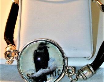 Goth Poe Raven Cord Bracelet