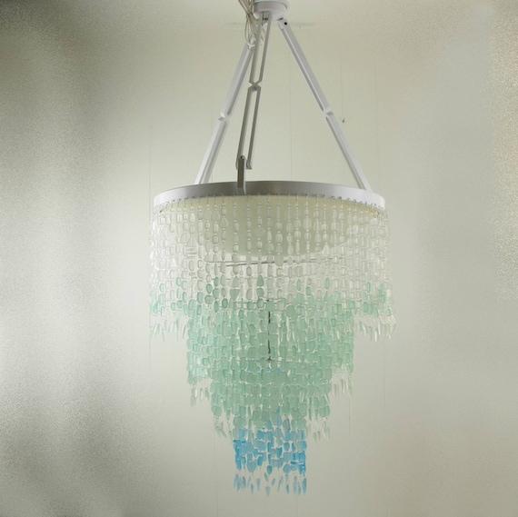 Beach Lighting Products: Sea Glass Chandelier Lighting Ceiling Fixture Beach Glass