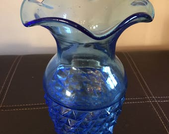Vintage Cobalt Blue Vase with Diamond Pattern