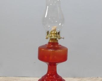 Red Oil Lamp ~ Hurricane Lamp ~ Kerosene Oil Lamp ~ Farmhouse Décor ~ Pro Display ~ Decorative Pattern on Base ~ Pebble Glass Finish