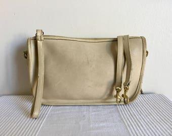 Vintage COACH Bonnie Cashin Ivory Leather Crossbody Shoulder Bag Purse
