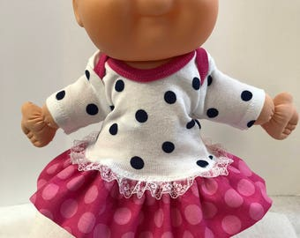 "Cabbage Patch NEWBORN 12 inch Doll Clothes, Lots of ""POLKA DOTS"" Ruffle and Lace Trim Dress, 12 inch Newborn Cabbage Patch Clothes"