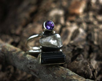Size 6 Amethyst, Quartz, Tourmaline Sterling Silver Ring