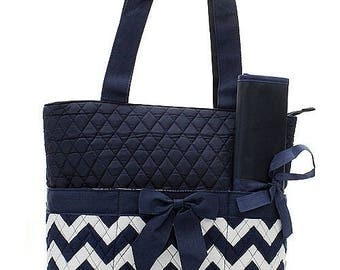 Personalized Navy Blue Chevron Quilted Diaper Bag * Custom Embroidered Diaper with Name * Monogrammed Baby Shower Gift