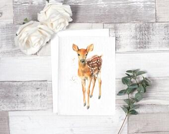 deer card, woodland deer card, fawn card, baby deer, woodland party, woodland animal card, baby shower card, animal cards, watercolour cards