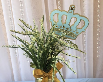 Royal prince Crown/ Light blue and Gold Crown/ Royal Crown/ Crown centerpieces stick