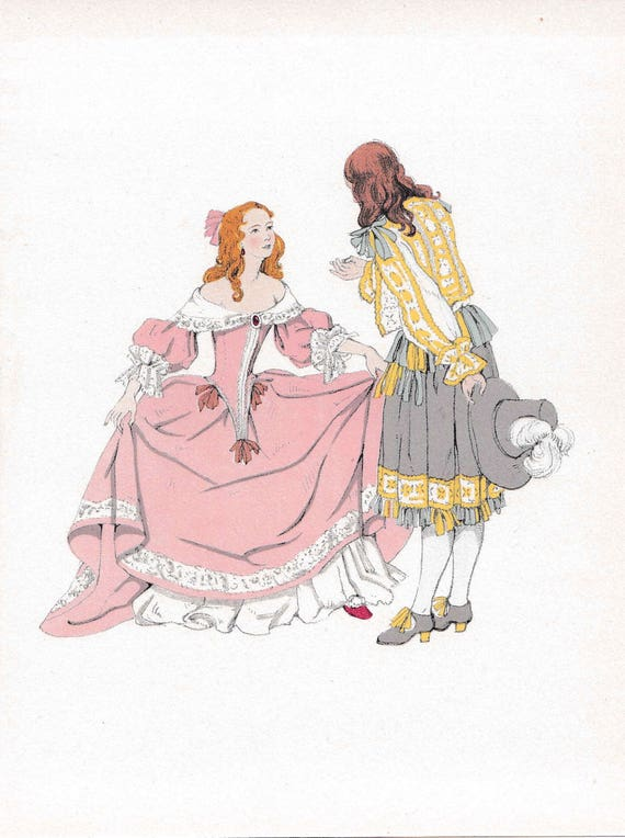 1940's print of 17th century man and woman in very fashionable outfits, flounces, lace, frills, feathers, published 1940