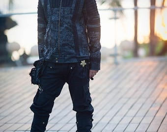 Pirate Style Jacket for Burning Man, Steampunk Outerwear and Punk Jacket Him, Mens Pirate Jacket, Black Moto Jacket for Festivals