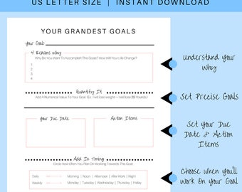 Goal Setting Worksheet | Goal Clarity Guide | Goal Outline | Goal Planning Worksheet | Life Goals Planner | New Year Resolution Planner