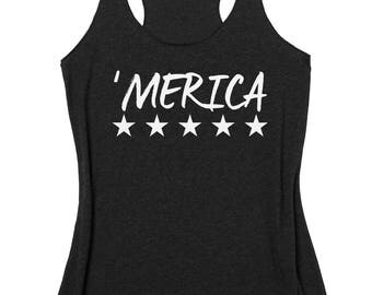 MERICA Tank Top. 4th Of July Tank. Fourth of July Tank Tops. America Tank. Independence Day. Summer Tank. Stars Tank. Star Spangled Hammer