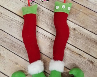 Christmas Decor - Elf Legs - Green Elf Leg