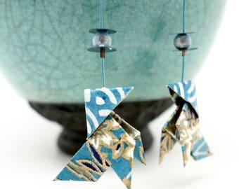 Origami Boucles d'oreilles cocotte bleu, blan et or, papier japonais washi, idée cadeau original, japanese paper, origami earrings, oiseau