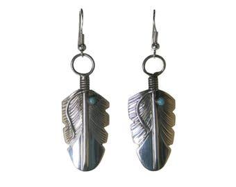 Long Vintage Sterling Navajo Feather Earrings