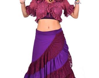 LONG GYPSY SKIRT, wraparound purple and burgundy boho skirt, lace skirt, bohemian Goa skirt, boho clothing