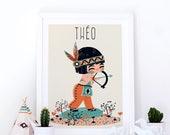 custom art print for kids  -  The little Indian - boy
