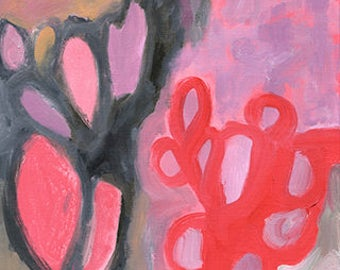 pink trees, large print of abstract painting of Joshua Tree