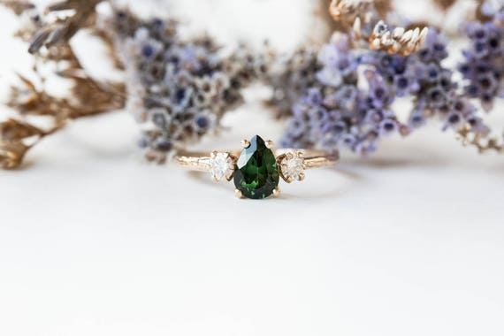 Tourmaline moissanite three stone engagement ring, twig engagement ring, three stone ring, promise ring, anniversary ring, tourmaline ring